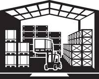 Forklift Transports Pallets In Warehouse Vector Illustration Royalty Free Stock Photography