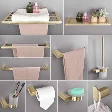 beiluode gebürstet gold badezimmer zubehör set edelstahl wc papier halter wc pinsel halter lagerung regal handtuch bar