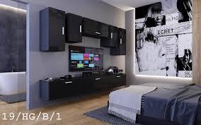 möbel für wohnzimmer schwarz hochglanz future 19