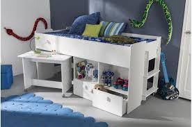 lit et bureau enfant lit combiné pour enfant 90x200cm avec bureau et rangement blanc