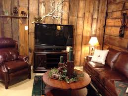 Rustic Living Room In Marvellous Rounded Wood Coffee Table With Brown Leather Sofa And Barn Wooden Wall Panelling As