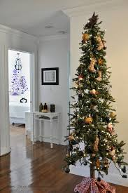 Skinny Primitive Christmas Tree With Handmade Ornaments Takes Up In