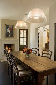 Dining Room Furniture Rustic Table Flowers Fireplace