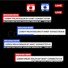 Breaking News Live Date Currency Bar Screen Broadcast Vector Flat Illustration Isolated On Black Background