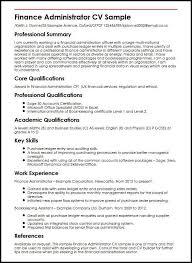 Finance Administrator CV Sample