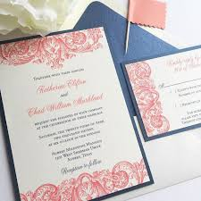 Affordable thermography wedding invitations navy and coral