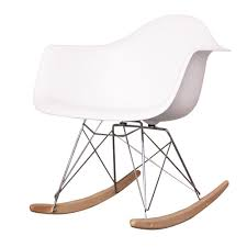 100 Eames Style Rocking Chair Charles Cool White Plastic Retro Tiny