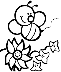 Bee And Flower Smile Coloring Pages