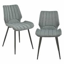 en casa 2x design stühle textil dunkelgrau stuhl