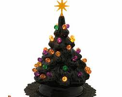 Black Ceramic Halloween Nightmare Tree With Colorful Round Globe Lights And Star Electric Light Fixture UL Approved