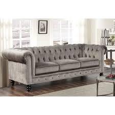 Armen Living 844 Barrister Sofa by Sofa Dazzling Gray Velvet Tufted Sofa Grey Sofas Gray Velvet
