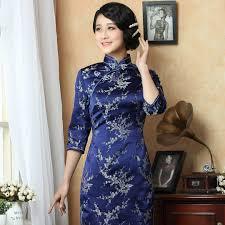 silver cherry blossom blue silk brocade qipao chinese cheongsam