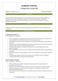 Configuration Analyst III Resume Sample