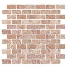 florida tile pietra travertine brick mosaic 2 x 4 rojo tile