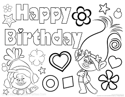 Trolls Birthday Coloring Pages