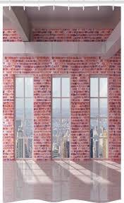 abakuhaus duschvorhang badezimmer deko set aus stoff mit haken breite 120 cm höhe 180 cm städtisch brick wall loft stadt kaufen otto