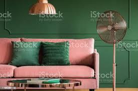 rosa und grün wohnzimmer design stockfoto und mehr bilder behaglich