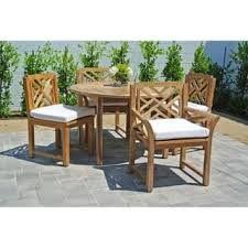 5pc Monterey Teak Outdoor Patio Furniture Dining Set With 48 Round Table Sunbrella Cushion