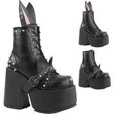 women u0027s demonia camel 202 chunky heel platform boot black goth