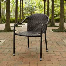 Crosley Furniture - Palm Harbor Outdoor Wicker Stackable Chairs - Set Of 4  Brown - CO7109-BR Gdf Studio Dorside Outdoor Wicker Armless Stack Chairs With Alinum Frame Dover Armed Stacking With Set Of 4 Palm Harbor Stackable White All Weather Patio Chair Bay Island Noble House Multibrown Ding 2pack Plowhearth Bistro Two 30 Arm Brown 51 Bfm Seating Ms11cbbbl Gray Rattan Inoutdoor Restaurant Of Red By Crosley Fniture