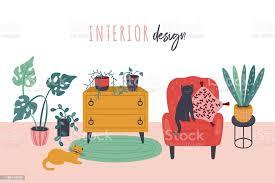 retrostil wohnzimmer interieur mit sessel und grünen pflanzen süße handgezeichnete möbel vektor illustration stock vektor und mehr bilder
