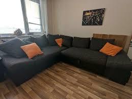 sofa sitzgarnitur schlafsofa anthrazit braun stoff