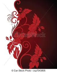 Curly Red Flowers Vector