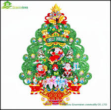 Merry Christmas Tree Stickers Wall Gold Foil Trees Decorative Sticker