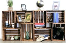 Milk Crate Shelves Wooden Bookcase Bookshelf