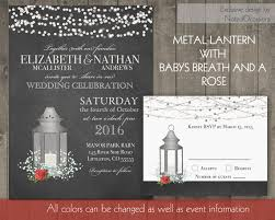Silver Lantern Wedding Invitations Set Rustic Rose Babys Breath And Red Roses On Chalkboard Lights