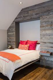 View In Gallery Murphy Bed And Pull Out Nightstands Disappear Into The Reclaimed Wood Wall When Not Needed