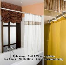 No Drill Curtain Rods Uk by Telescopic Shower Curtain Rail Extendable 125 220cm Pole Rod Bath