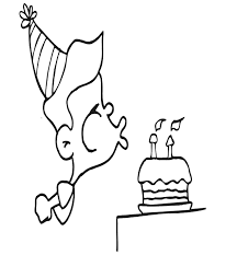 Birthday Coloring Page boy blowing out candles