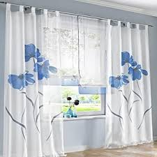 souarts blau stickerei transparent gardine vorhang schlaufenschal deko für wohnzimmer schlafzimmer studierzimmer 150cmx245cm nur ein schlaufenschal
