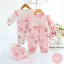 Hot Cute Newborn Baby Girls Romper Winter Girl Clothing Set Vintage Clothes Lace Floral Coat