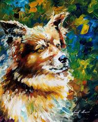 Brown Dog Fine Art Palette Knife Oil Painting On Canvas By