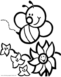Cartoon Bee And Flower A Page To Print Out Color