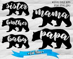 Mama Bear Svg Vecor Cut Files Family Clipart Sister