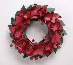 Pink Origami Flower Lily Paper Wreath