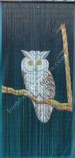 wise owl on branch bamboo beaded door curtain room divider