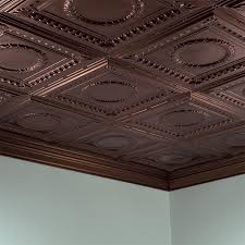 fasade ceiling tile 2x4 direct apply rosette in rubbed bronze