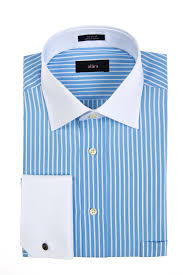 white collar regular fit dress shirt with french cuffs and blue