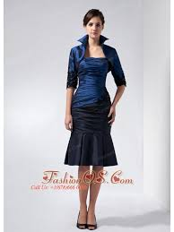 Perfect Navy Blue Mother Of The Bride Dress Column Strapless Beading And Appliques Knee Length