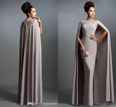 2017 cheap bridesmaid dresses jewel neck with cape gray lace