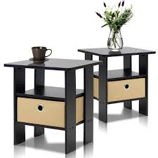 Amazon Furinno 2 EX End Table Bedroom Night Stand Petite Espresso Set of 2 Kitchen & Dining