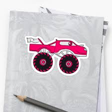 Pink Girl Woman Girl Female Monster Truck Cool Comic Eyes Face ...