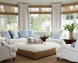 Sunroom Furniture Ideas With White Upholstery Sofa Square Rattan Wicker Ottoman Two Wooden Side Tables