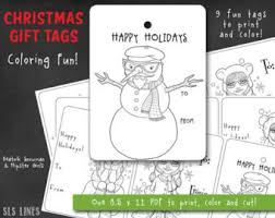 Christmas Coloring PDF With Beatnik Snowman And Hipster Girls Printable Xmas Gift Tags Adult