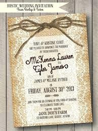 Rustic Wedding Invitation Burlap Lace Twine Faux Digital Print Diy Invitations