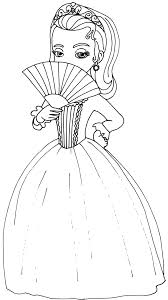 Sofia The First Coloring Page For Princess Amber Covering Her Face With A Handheld Fan